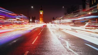 Time-Lapse Of Westminster At Night: Stock Video