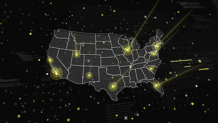 USA Map Global Connections : Stock Motion Graphics