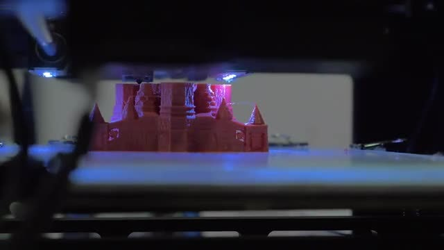 3D Printing Of Toy Castle: Stock Video