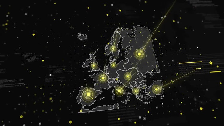 European Map Global Connections: Stock Motion Graphics