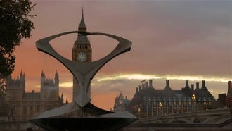 Big Ben And Torsion Fountain: Stock Video