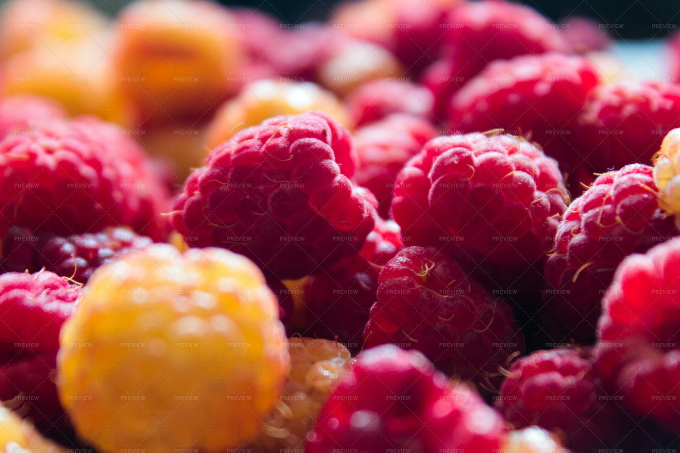A Collection Of Raspberries: Stock Photos