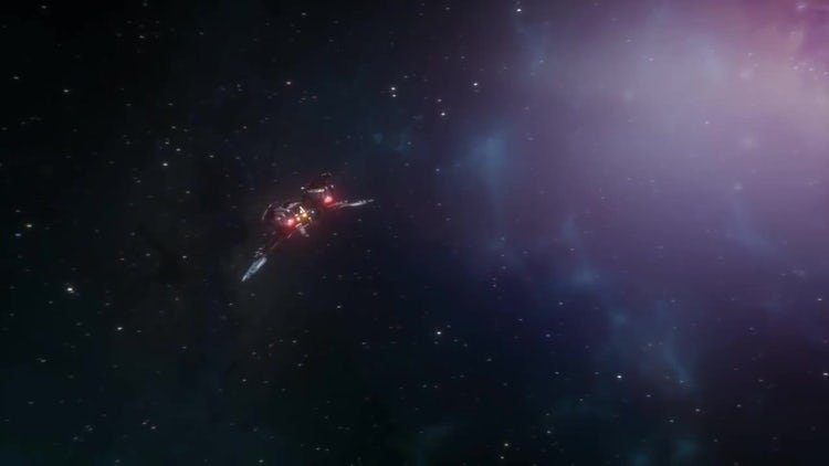 Spaceship Approaching And Leaving Earth: Stock Motion Graphics