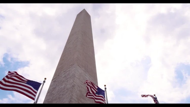 Washington Monument Pan With Flags: Stock Video