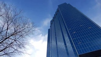 Time-lapse Of Skyscraper And Blue Sky : Stock Video