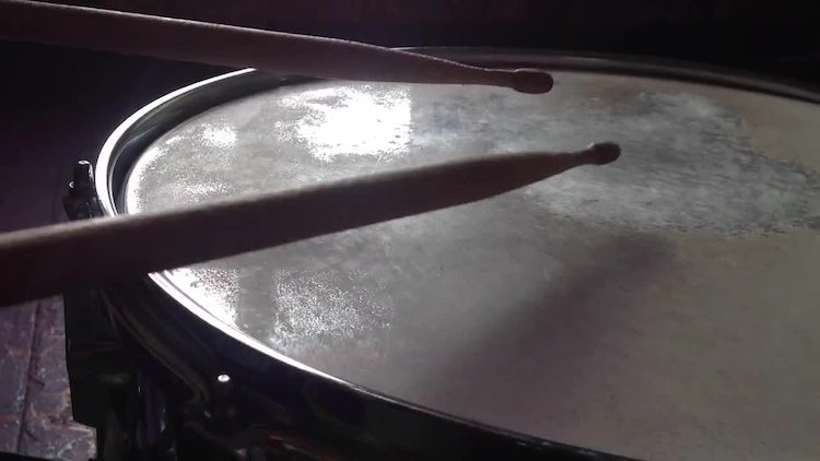 Playing On The Snare Drum. Time Lapse: Stock Video