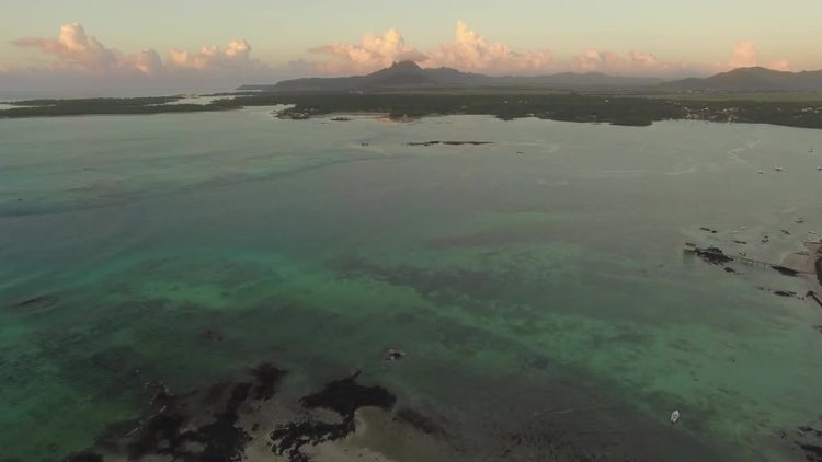 Aerial View Of Mauritius Coastline: Stock Video