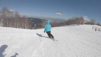 Skier Going Down Ski Route: Stock Video