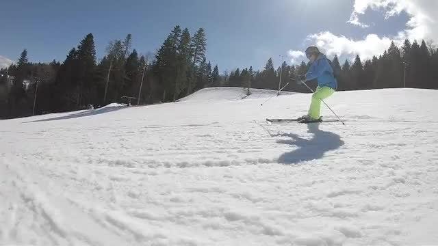 Skier Going Down Ski Route: Stock Video