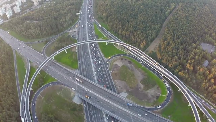 Flying Over City Traffic: Stock Video