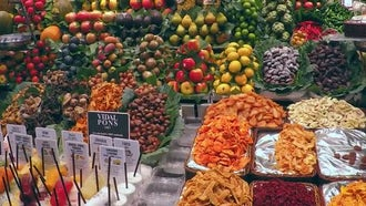 Store Display Of Exotic Fruits: Stock Footage