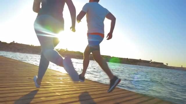 People Jogging In The Morning: Stock Video