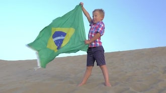 Child With Brazilian Flag: Stock Footage