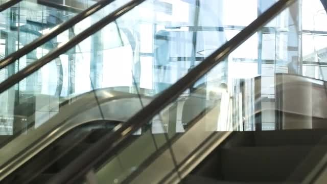Escalator Moving Up And Down : Stock Video