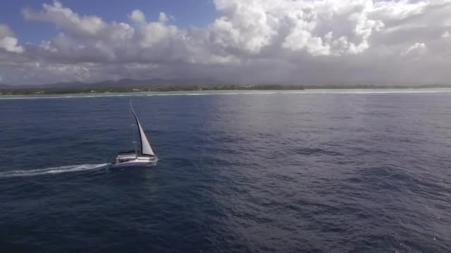 Aerial View Of A Yacht : Stock Video