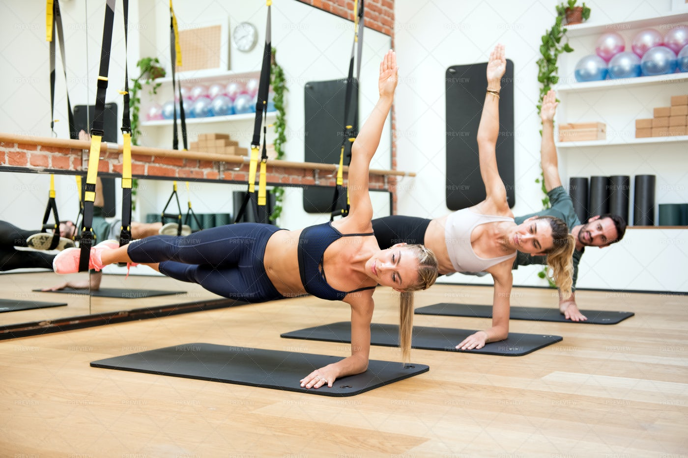 Elbow Side Planks: Stock Photos