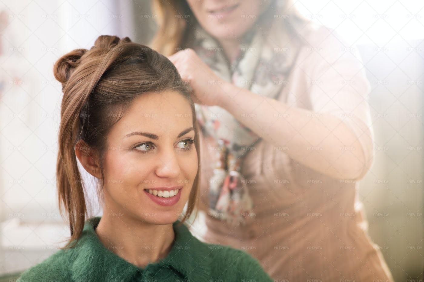 Woman Getting Hairdo: Stock Photos