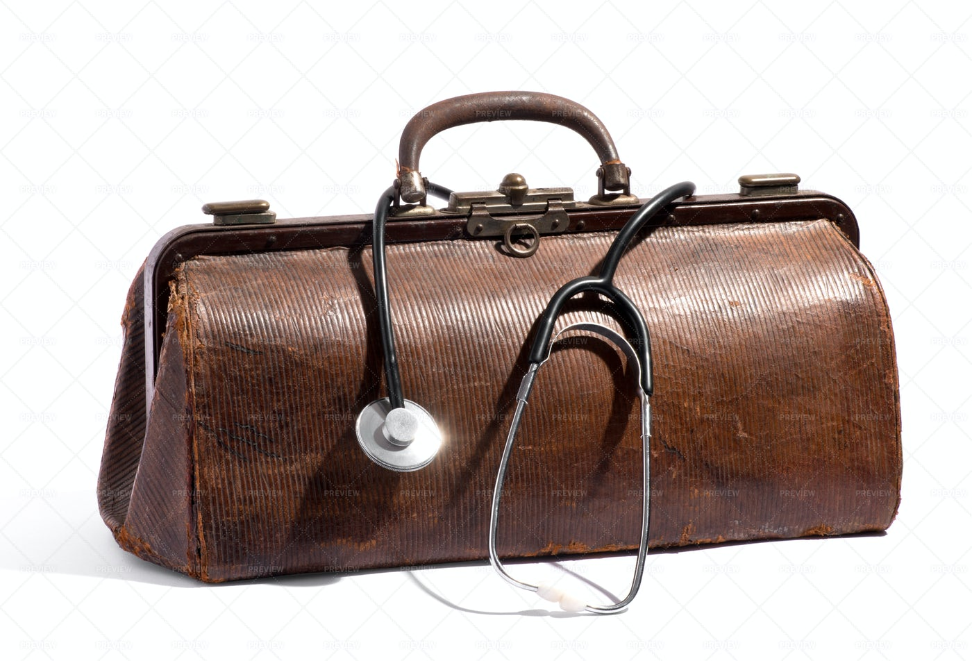 Brown Leather Doctor's Bag: Stock Photos