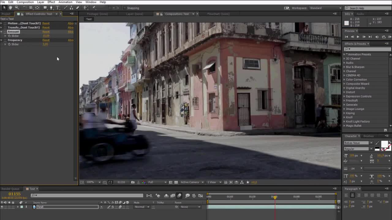 After effects presets editing