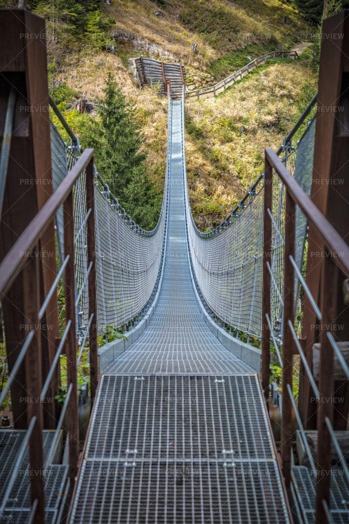 Suspended Bridge On Alps: Stock Photos
