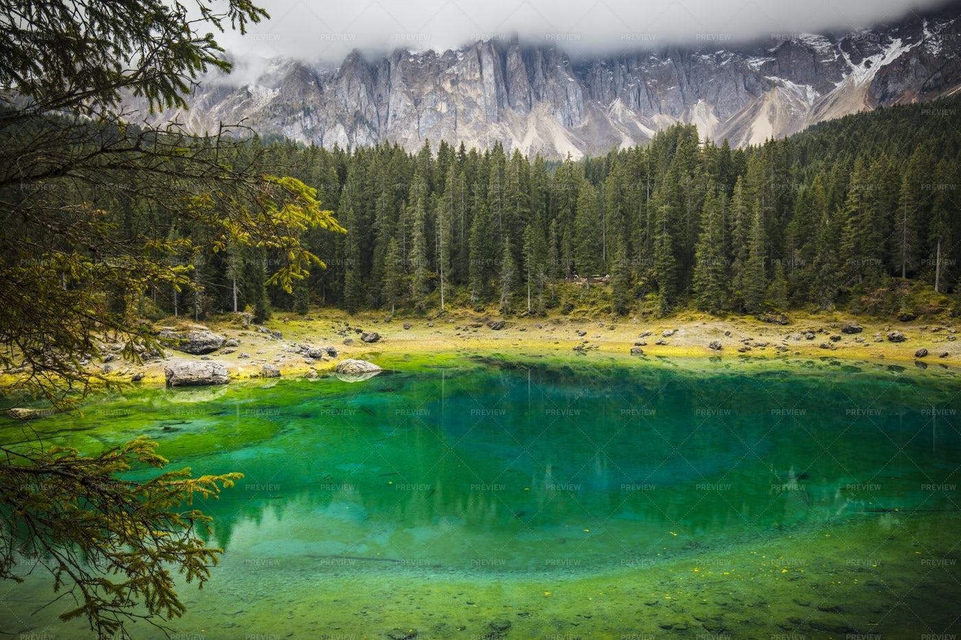 Carezza Lake In Italy: Stock Photos
