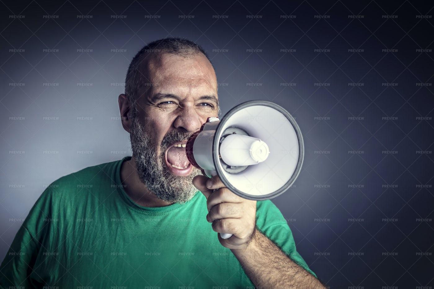 Man With Megaphone: Stock Photos