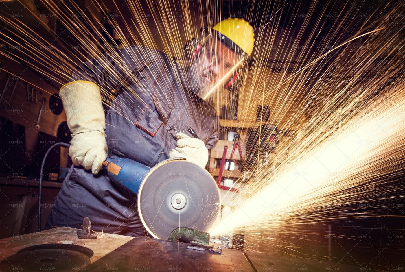 Man With A Grinder: Stock Photos