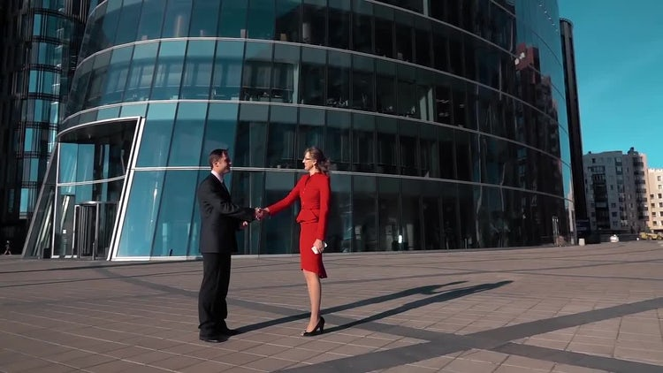 Man And Woman Make Deal With Handshake: Stock Video