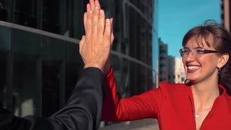 Businesspeople High-5 Outdoors: Stock Video