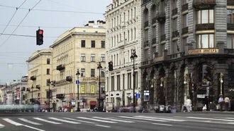 Pedestrian Crossing In Saint Petersburg  : Stock Video