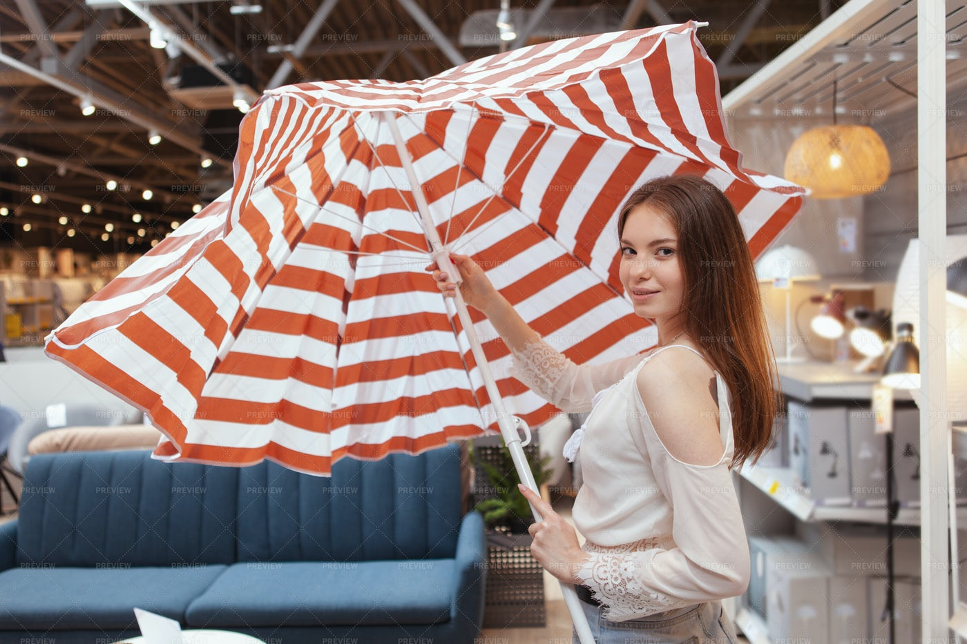 Buying A Beach Umbrella: Stock Photos