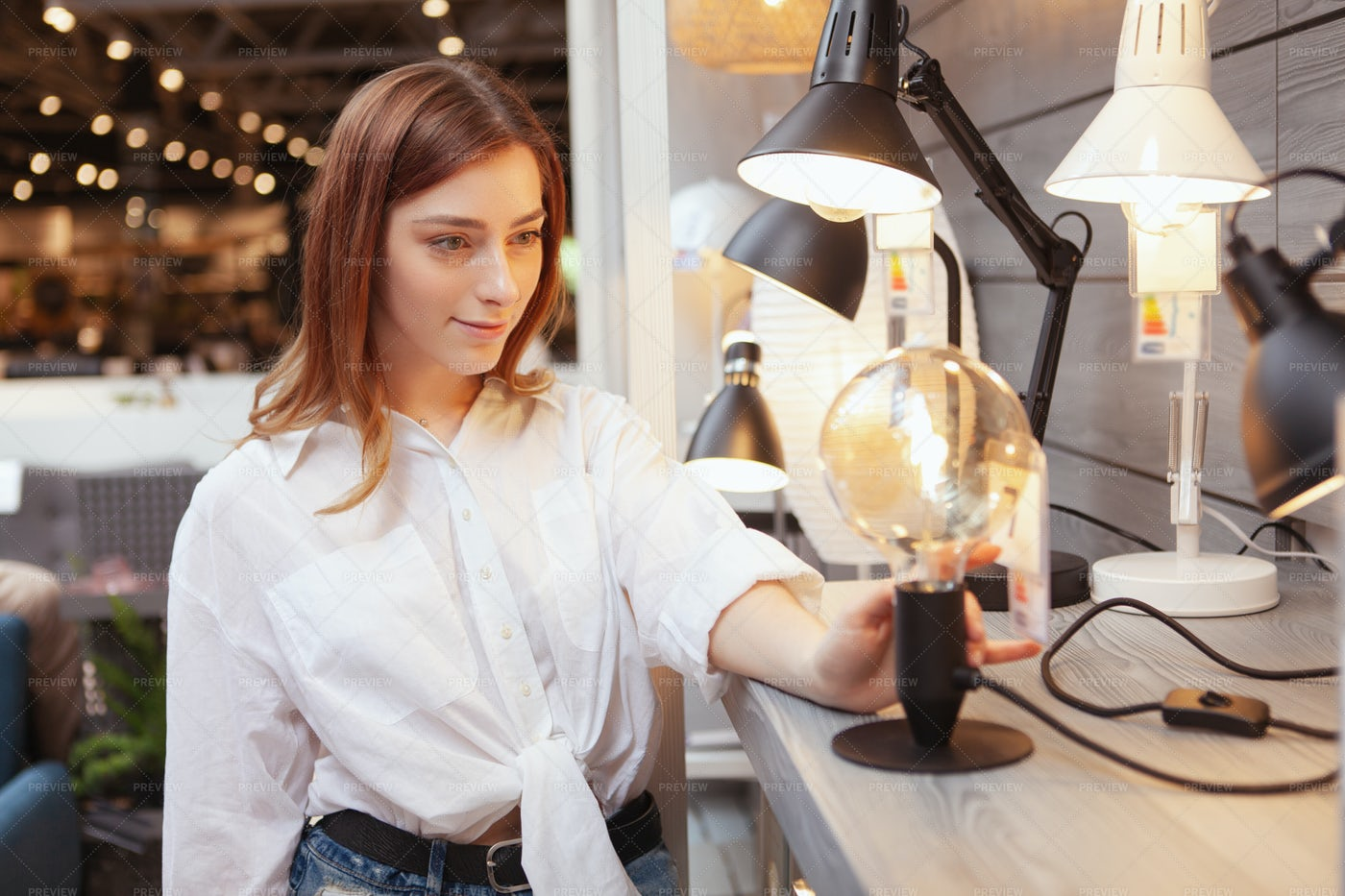 Choosing New Lamp: Stock Photos