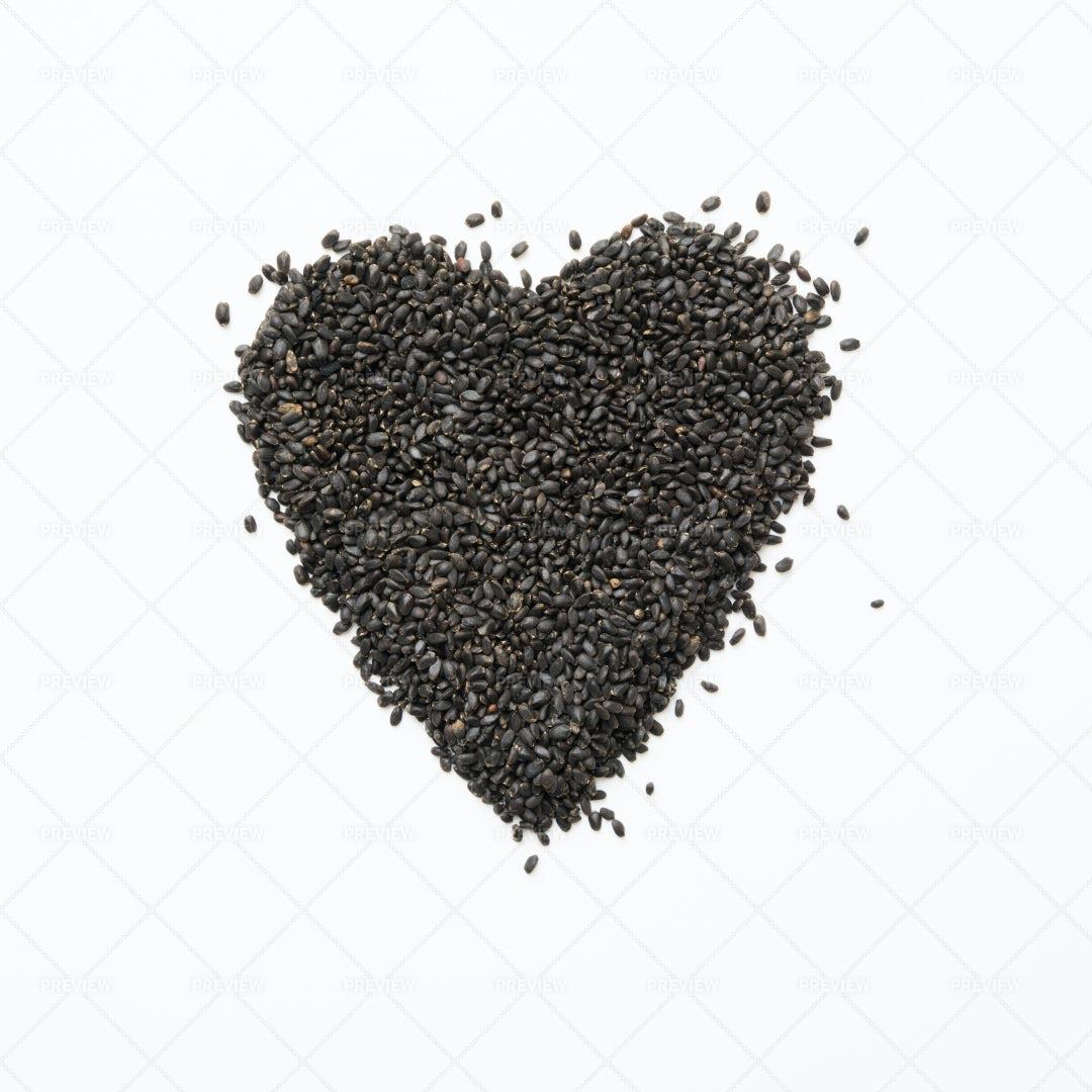Heart Shape Of Basil Seeds: Stock Photos