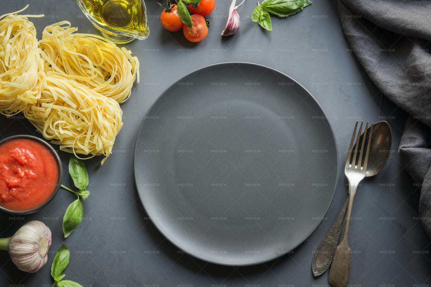 Empty Plate And Ingredients: Stock Photos