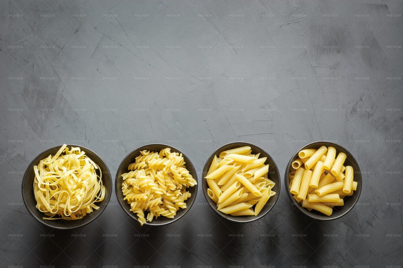 Different Types Of Pasta: Stock Photos