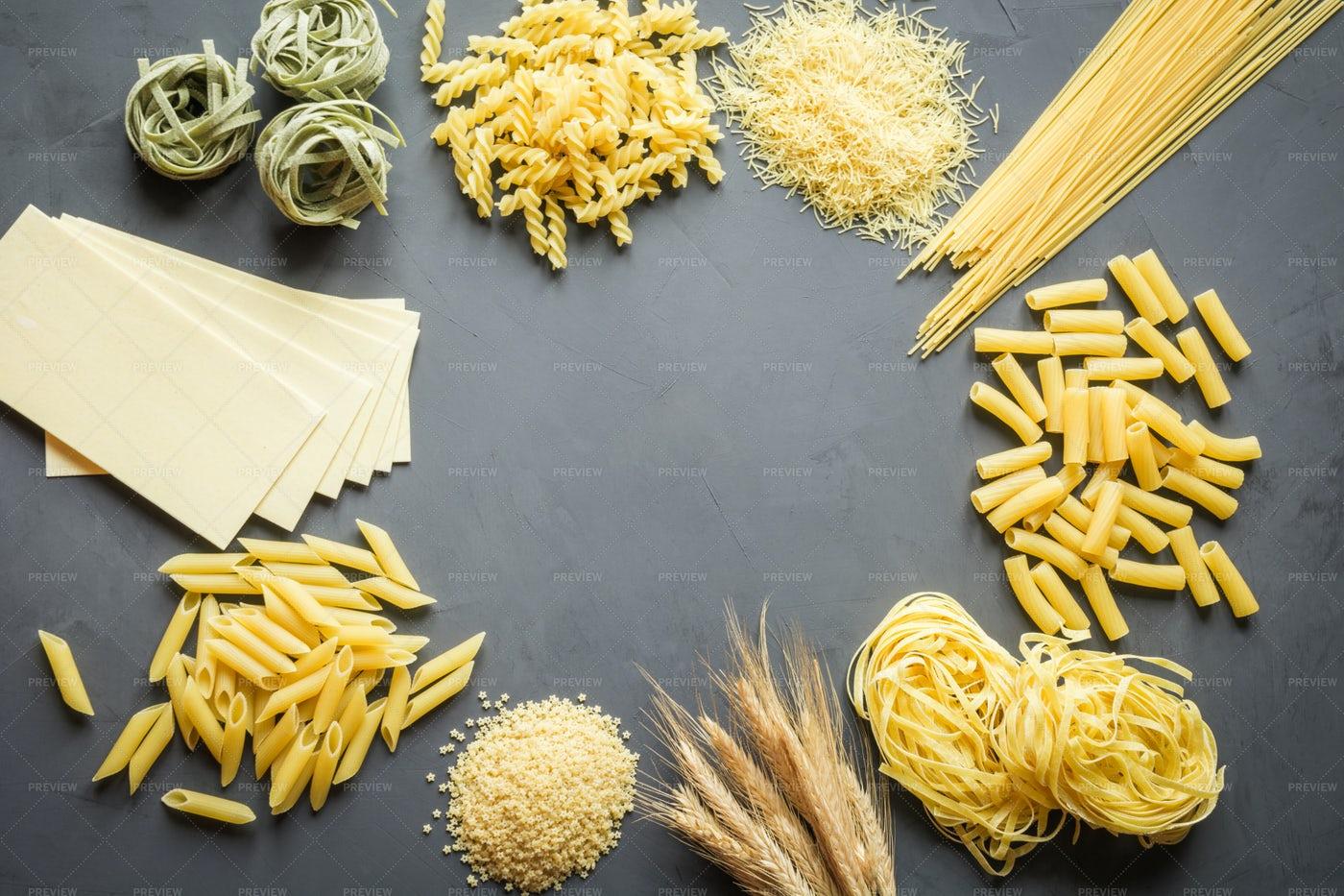 Piles Of Different Pastas: Stock Photos