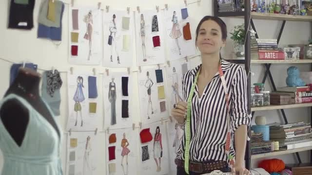 Young Female Fashion Designer: Stock Video