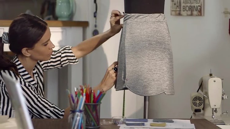 Fashion Designer Works On Skirt : Stock Video