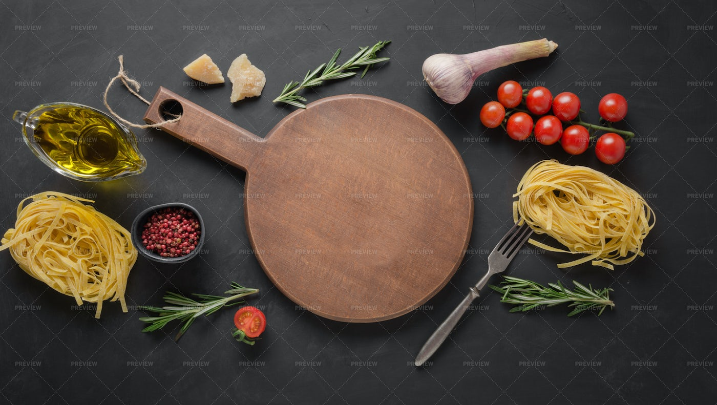 Ingredients And Wooden Board: Stock Photos