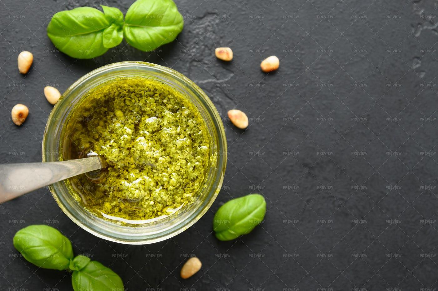 Pesto Sauce With Basil: Stock Photos
