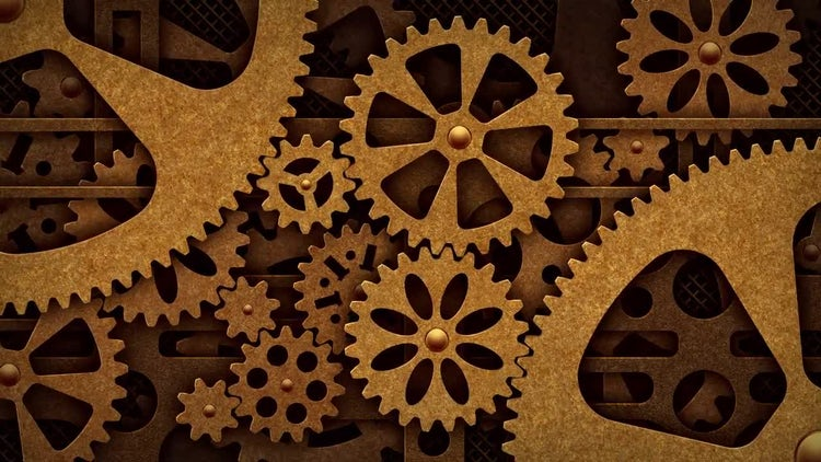Steampunk Mechanical Gears Rotation: Motion Graphics