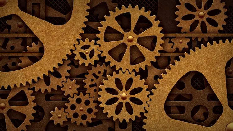 Steampunk Mechanical Gears Rotation: Stock Motion Graphics