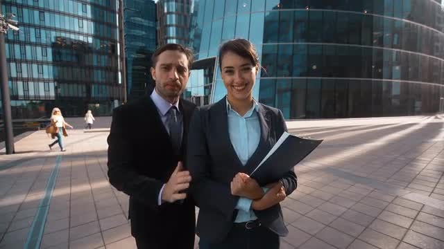 Businessman Recommends Female Partner : Stock Video