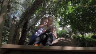 Mother And Son Relaxing Outdoor: Stock Video