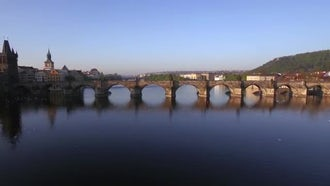 Charles Bridge Over Vltava River In Prague: Stock Video