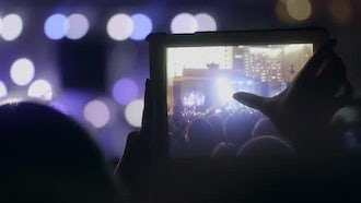 Recording Music Concert On Tablet : Stock Video