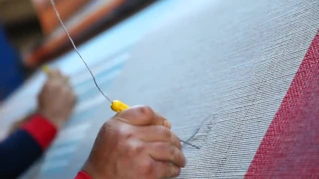 Making A Hand-Knotted Rug: Stock Video