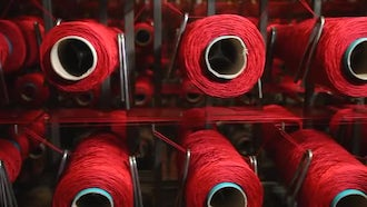 Yarn Weaving In Progress: Stock Video