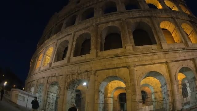 Colosseum Of Rome At Night: Stock Video