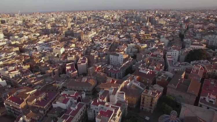 Aerial View Of Valencia City: Stock Video